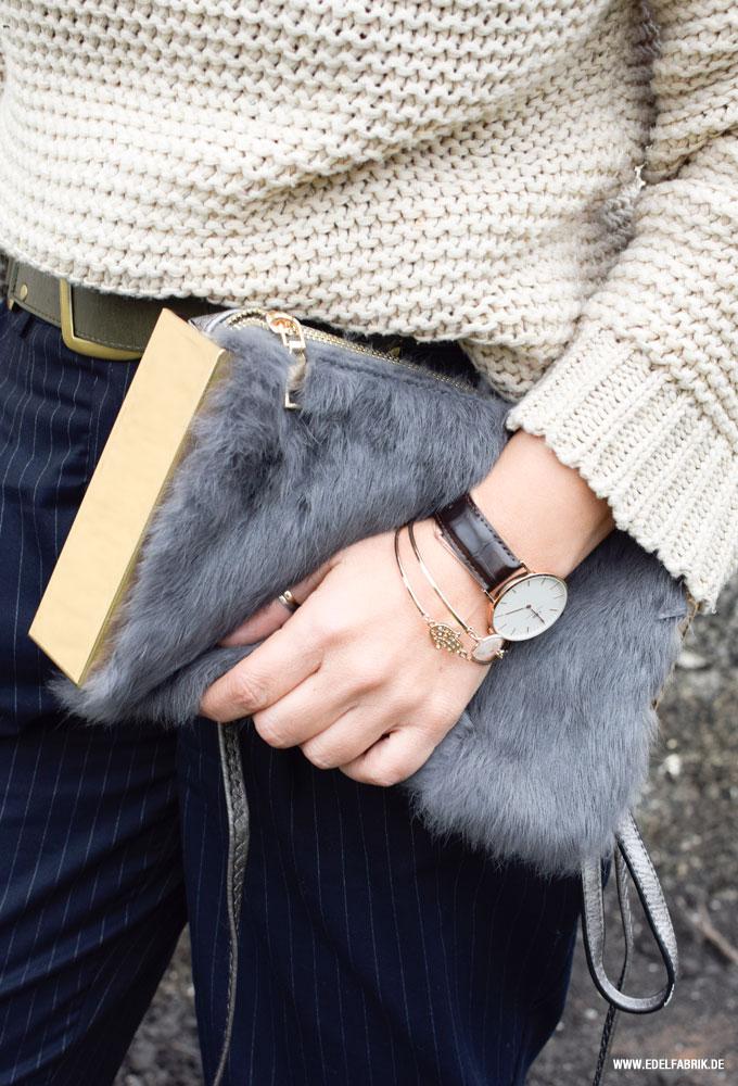 Clutch mit Fake Fur, Tasche aus Fellimitat