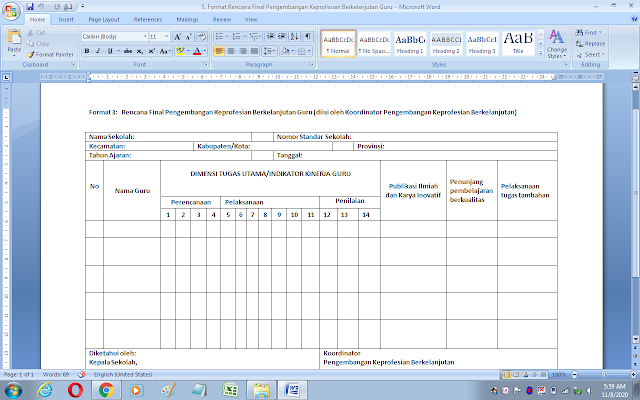 Format 3 rencana final pengembangan keprofesian berkelanjutan guru