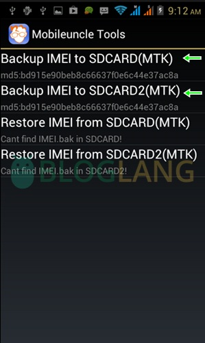 backup imei Android