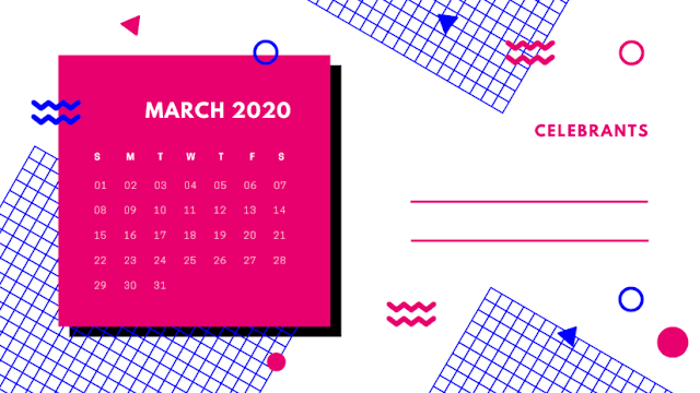 Calendario rosa marzo del 2020