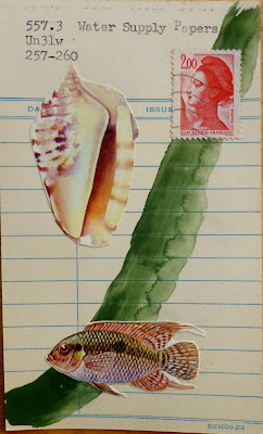 conch seashell French liberty postage stamp tropical fish library card water supply papers mail art Dada Fluxus collage