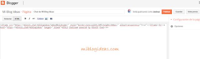 Añadiendo el código del chat a una página del blog
