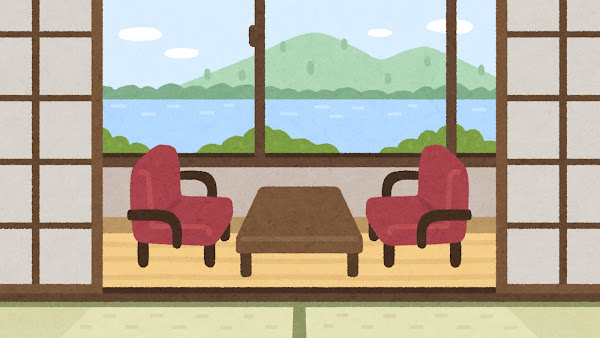 旅館の室内イラスト(背景素材)