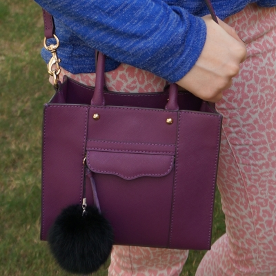 pink leopard print jeans with Rebecca Minkoff mini MAB tote in plum | awayfromtheblue