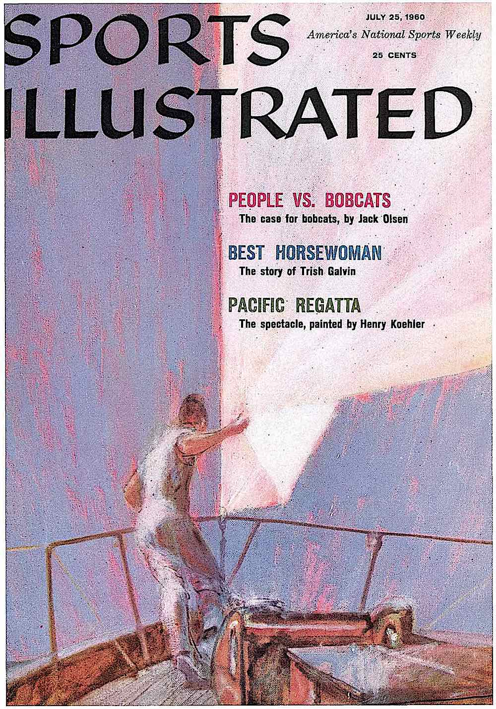 a 1960 Henry Koehler illustration for July 25 Sports Illustrated magazine, a man on a regatta sailboat with purple sky