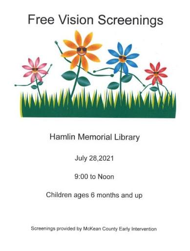 7-28 Free Vision Screening At The Hamlin Memorial Library