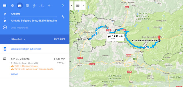 https://www.google.com/maps/dir/Andorra/Arr%C3%AAt+de+Bolqu%C3%A8re-Eyne,+66210+Bolqu%C3%A8re,+Ranska/@42.4130221,1.7555645,10z/data=!4m24!4m23!1m15!1m1!1s0x12a5f52e989ef095:0x7c93ed778ea7f92!2m2!1d1.521801!2d42.506285!3m4!1m2!1d1.7479077!2d42.5585!3s0x12af7de64f933717:0x8ae65690ac2c75f2!3m4!1m2!1d1.9792094!2d42.4630205!3s0x12a57caf80664281:0x5bda38d624e7bf73!1m5!1m1!1s0x12a561a219140f7d:0x9606de1184b84bb5!2m2!1d2.087146!2d42.498091!3e0?hl=fi-FI