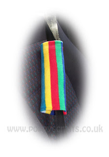 rainbow striped fleece shoulder strap pads