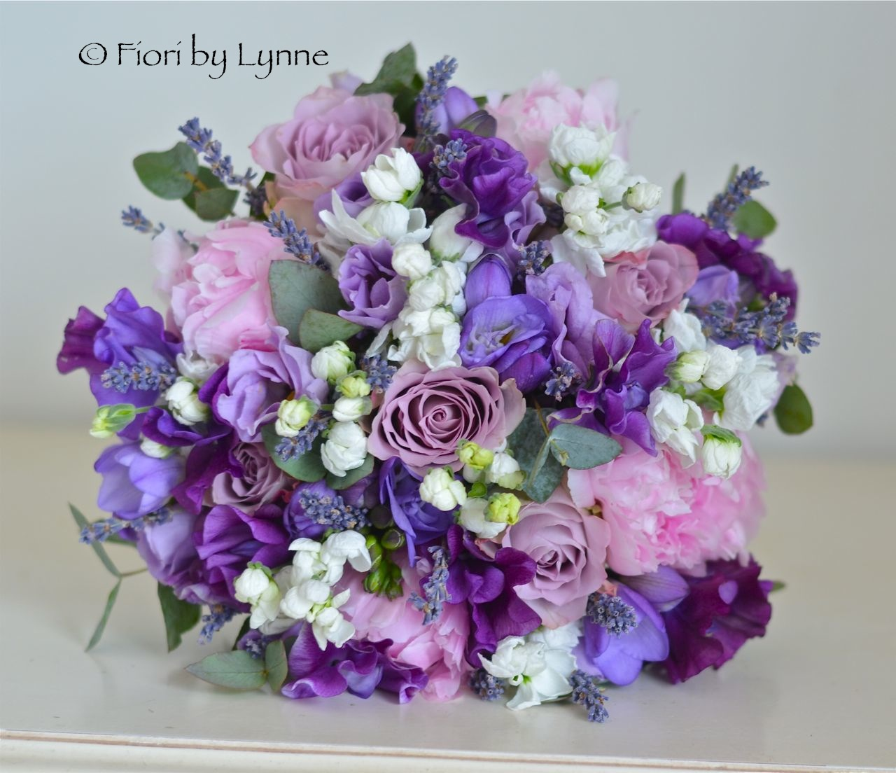 Pink Peonies Purple Sweet Peas Lavender Stocks Lisianthus And Freesia Make A Wonderful Early Summer Bouquet This Was Actually Late April Wedding But