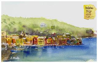 イタリアの港町、ポルトフィーノ 水彩画 Portofino Watercolor