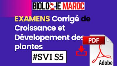 EXAMENS corrigés de Croissance et développement des plantes SVI S5 PDF à télécharger