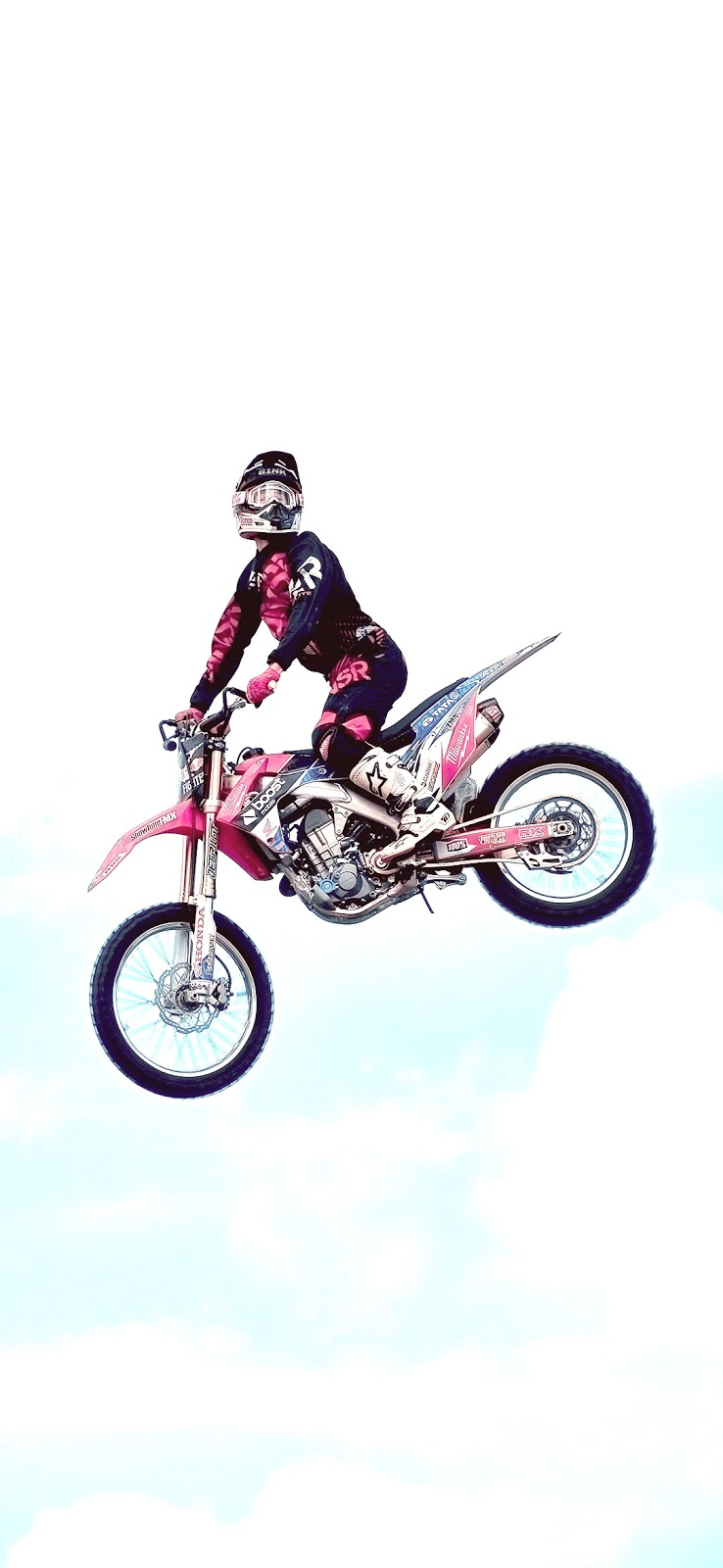 man riding dirt bike on air wallpaper