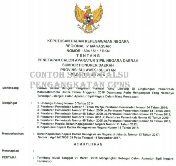 Contoh Surat Palsu PNS 2018