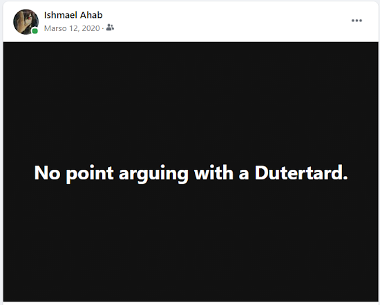 No point arguing with a Dutertard