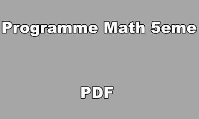 Programme Math 5eme PDF