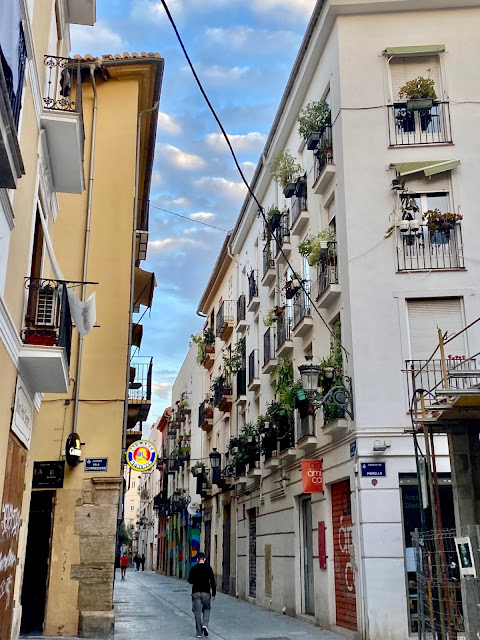 Streets of flats lined with balconies in the old historic centre of Valencia, Spain