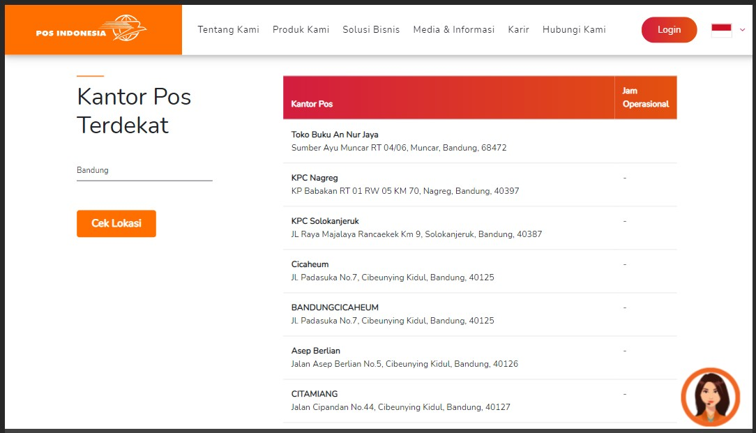 Daftar kantor pos terdekat dari sini via posindonesia.co.id