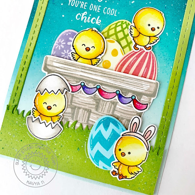 Sunny Studio Stamps: Layered Basket Eggs To Dye For Chickie Baby Card by Kavya
