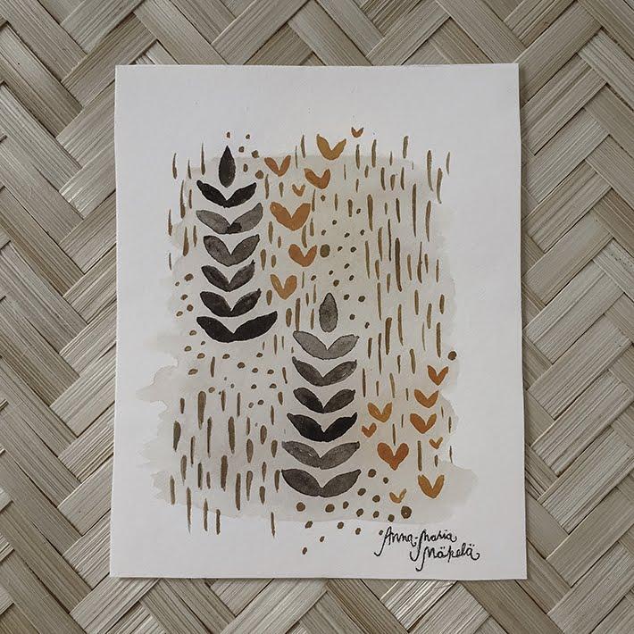 Vesivärit, kuosisuunnittelu, maalaus, ruskea, oranssi, lehdet luonto, kesäsade, annan tirpat, Anna-Maria Mäkelä