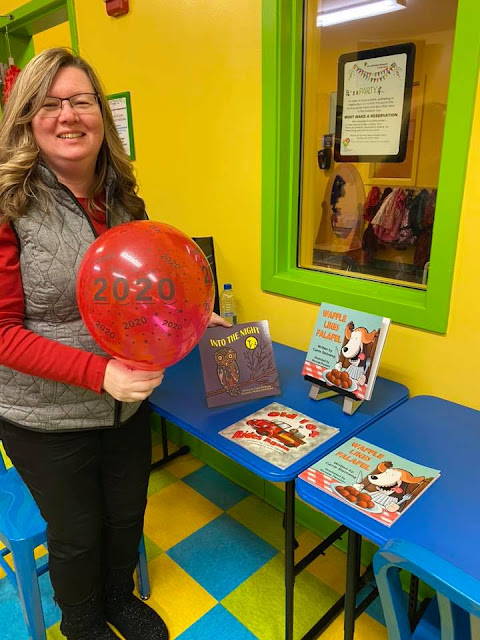 Author Carrie Steinweg at  New Year's celebration at the Children's Museum in Oak Lawn. Image credit Carrie Steinweg.