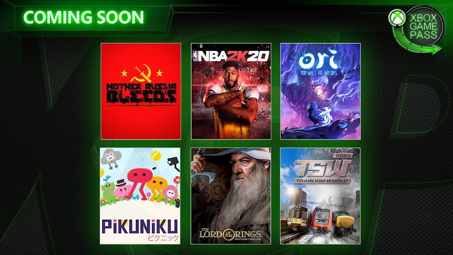 xbox game pass mother russia bleeds nba 2k20 ori and the will of the wisps pikuniku lord of the rings adventure card game train sim world 2020 xb1 2020