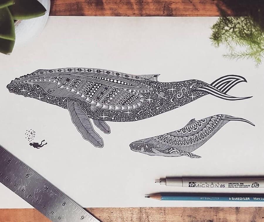 09-Zentangle-whale-and-scuba-diver-Tobias-www-designstack-co