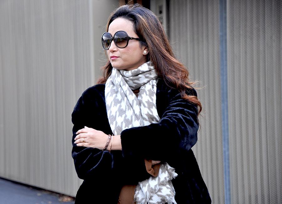 black faux fur jacket/coat