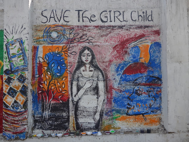 The wall panel painted by Milburn Cherian, Chitra Vaidya, Sumana Nath De and Ami Patel at The Art Walk 360 at Mumbai