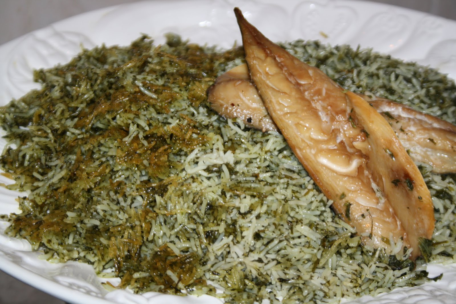 Sabrina 39 s passions recipe persian herb rice sabzi polow for Rice recipes to go with fish