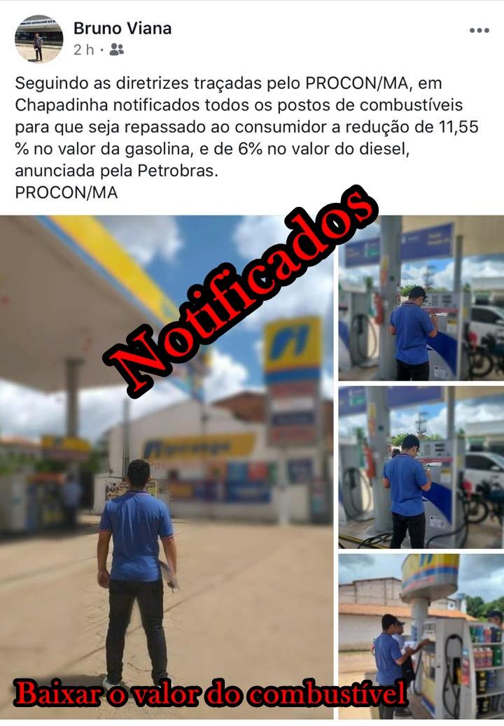 PROCON notifica Postos de Combustíveis de Chapadinha para reduzir preço nas bombas.