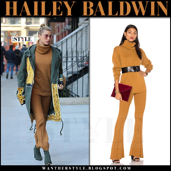 Hailey Baldwin in orange knit turtleneck and orange knit pants lpa x revolve what she wore