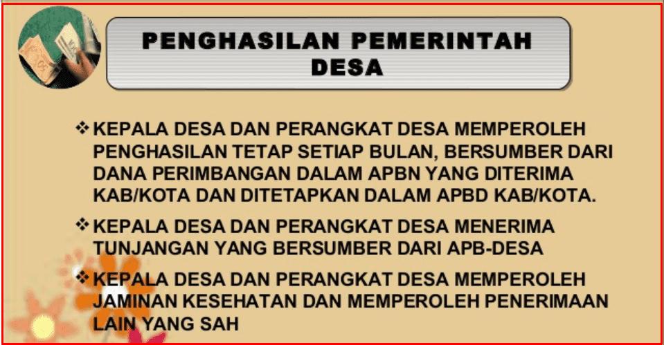 Penghasilan Pemerintah Desa Dalam UU Nomor  Penghasilan Pemerintah Desa Dalam UU Nomor 6 Tahun 2014