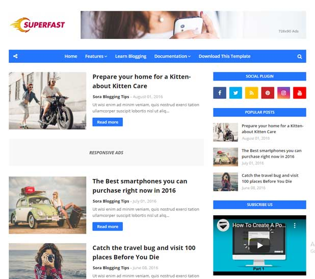 SuperFast Blogger Template Free SEO Ready and Mobile Friendly