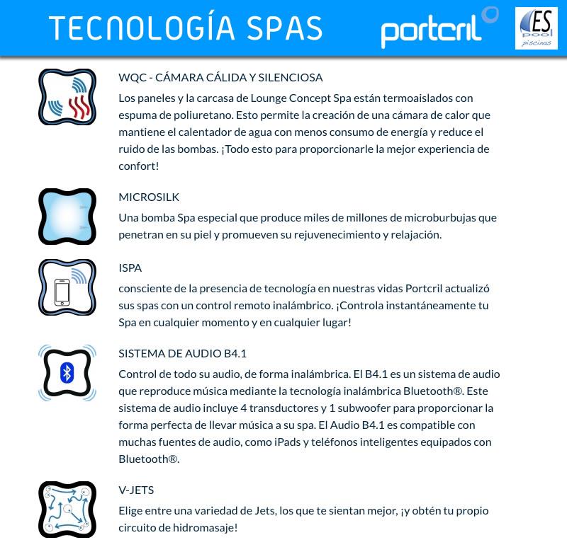 Tecnologías de los Spas Portcril, de venta en Espool Piscinas, tienda oficial de Spas Portcril