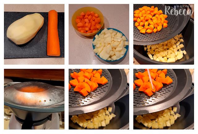 Receta de salsa vegana con sabor a queso: cocción de las verduras