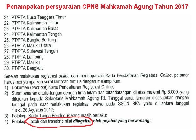 Persyaratan CPNS MA republik indonesia