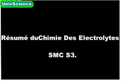 Résumé de cour Chimie Des Electrolytes SMC S3.