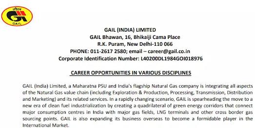 Gail India Limited Recruitment 2021