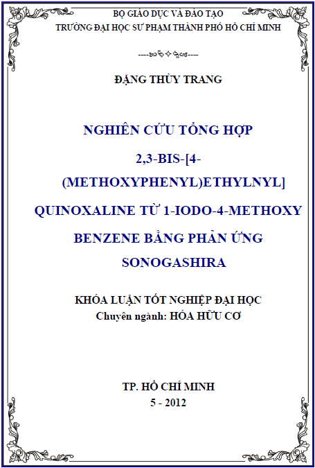 Nghiên cứu tổng hợp 2,3-bis-[4-(methoxyphenyl)ethynyl]quinoxaline từ 1-Iodo-4-methoxybenzene bằng phản ứng Sonogashira