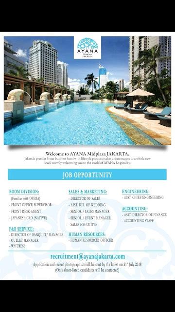 Lowongan kerja Hotel Ayana Midplaza Jakarta
