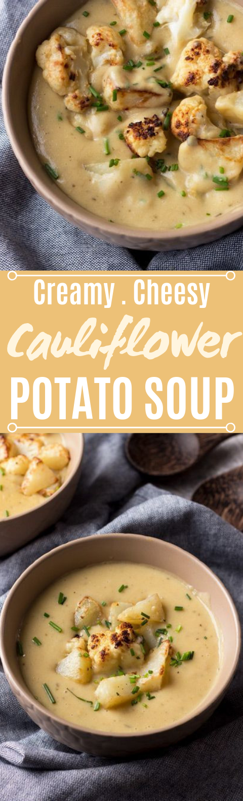 Cheesy Vegan Cauliflower Potato Soup #vegetarian #soup