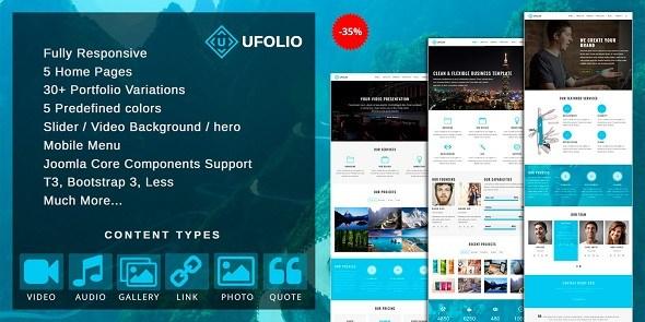 Download Ufolio V12 Premium Responsive Portfolio Joomla V36