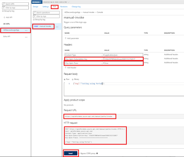 Testing API using APIM Portal