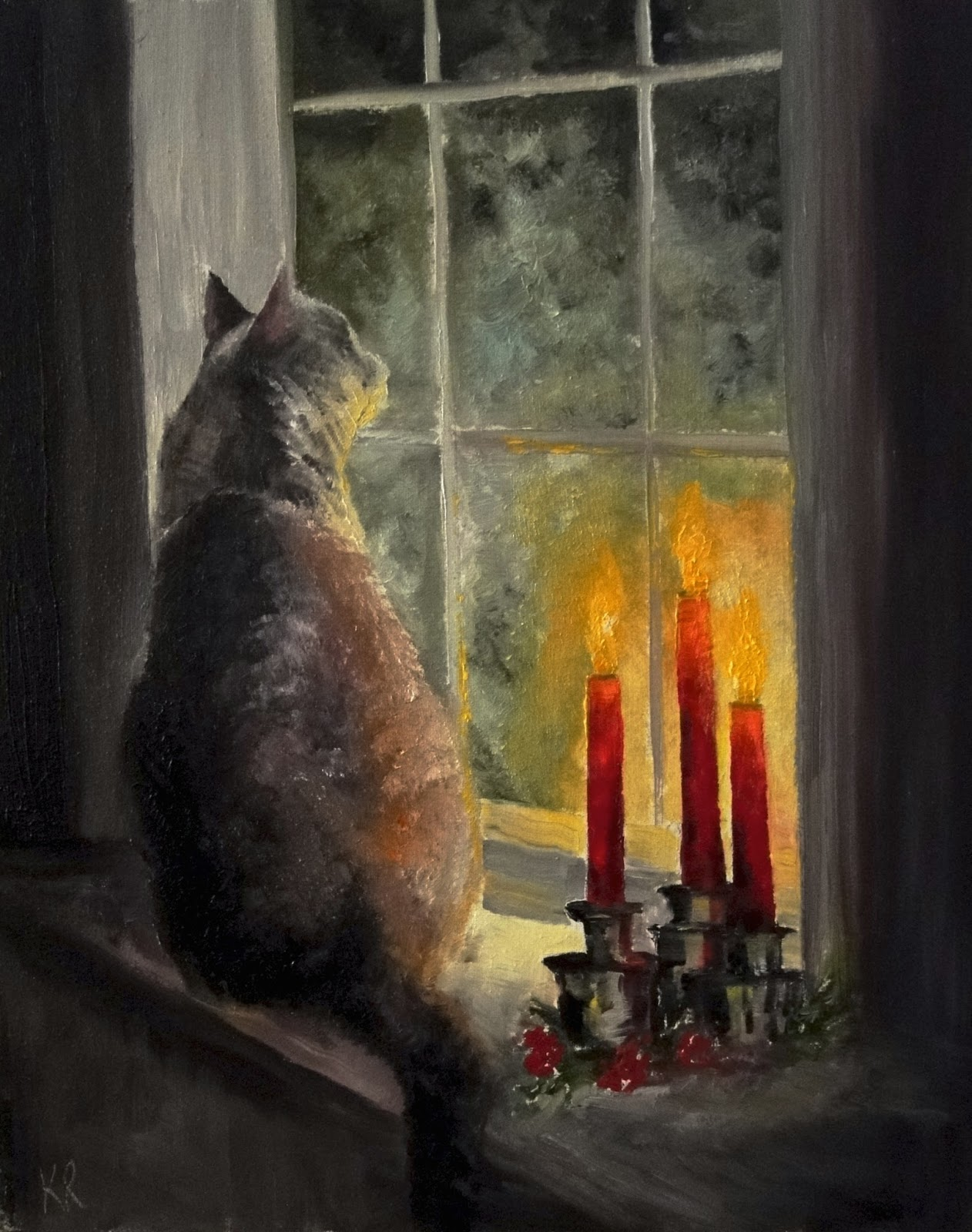 Oil painting of a grey cat on a windowsill, lit by candlelight and waiting for santa, a pet portrait by Karen