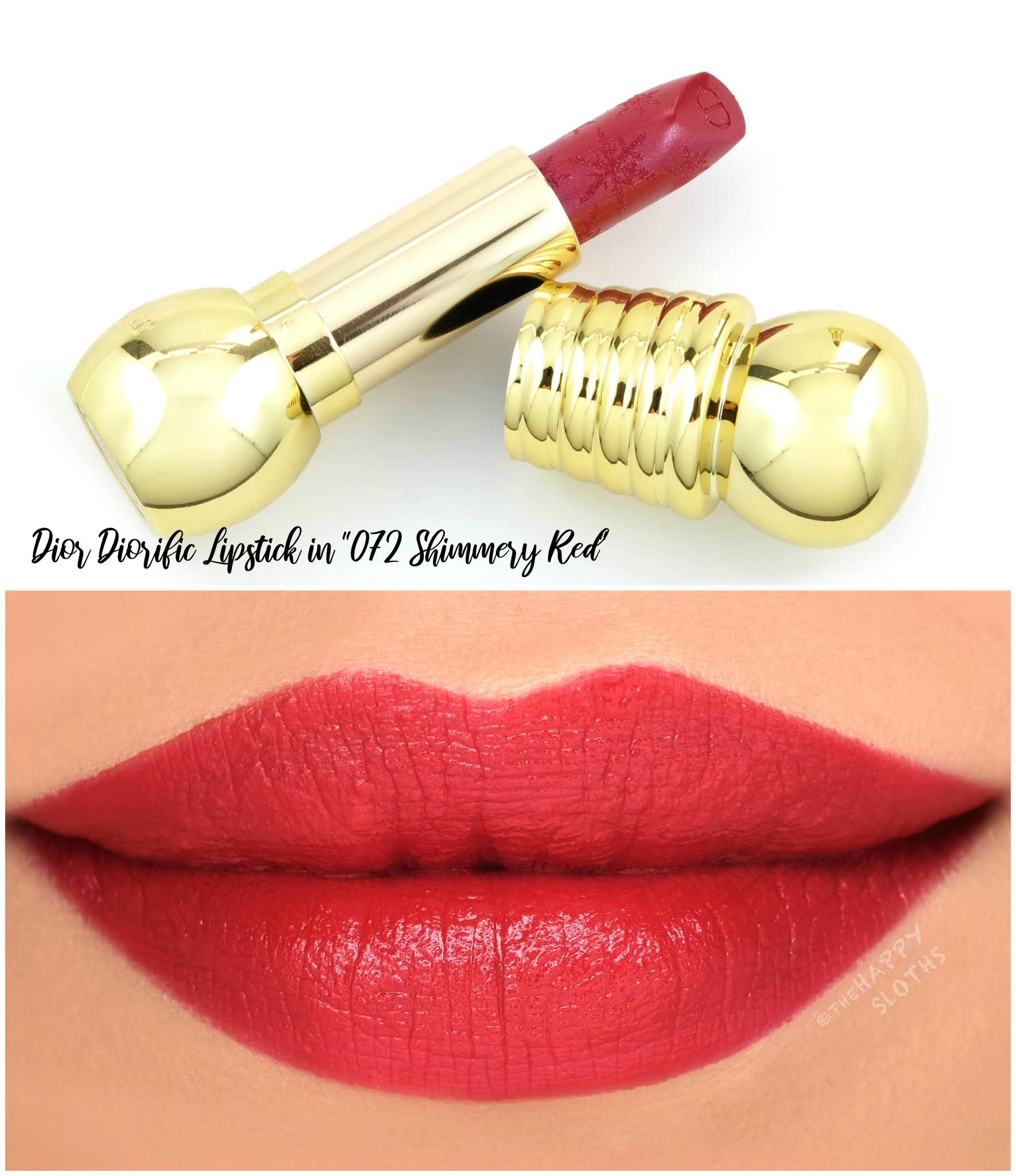 "Dior Holiday 2020 | Diorific Golden Nights Lipstick in ""072 Shimmery Red"": Review and Swatches"