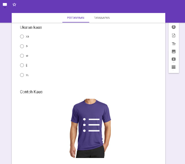 Penggunaan ukuran kaus dalam google form