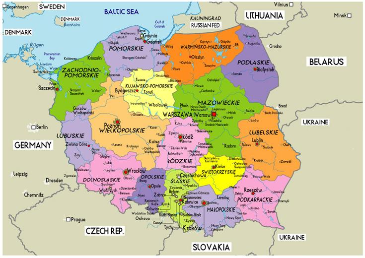 kort over polen og tyskland