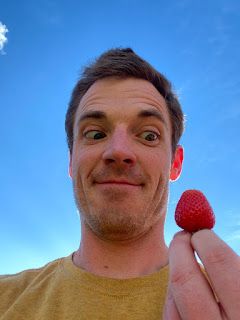 James with First Strawberry
