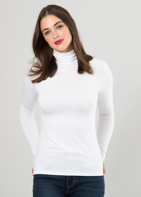white silky roll neck