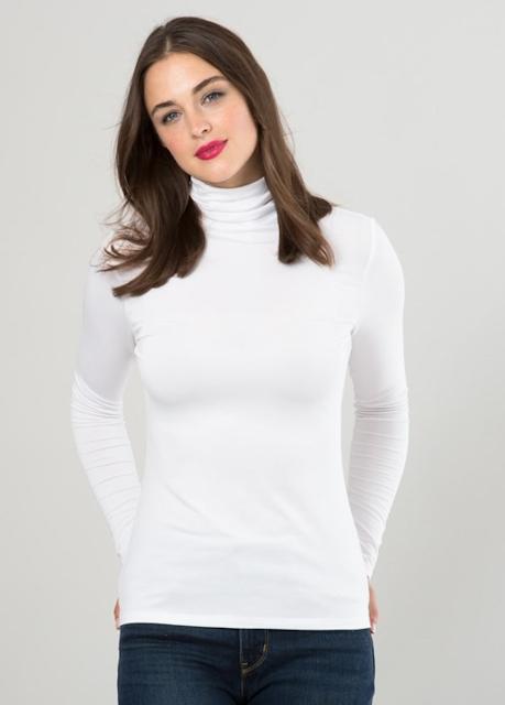 white silky roll neck